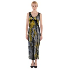 Grey Yellow Stone  Fitted Maxi Dress