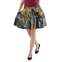 Grey Yellow Stone  A Line Pocket Skirt