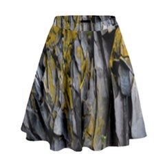 Grey Yellow Stone  High Waist Skirt