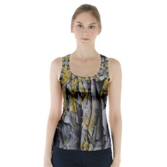 Grey Yellow Stone  Racer Back Sports Top