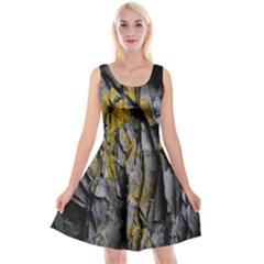Grey Yellow Stone  Reversible Velvet Sleeveless Dress