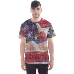 Grunge United State Of Art Flag Men s Sport Mesh Tee