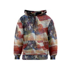 Grunge United State Of Art Flag Kids  Zipper Hoodie