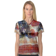 Grunge United State Of Art Flag Women s V-Neck Sport Mesh Tee
