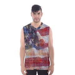 Grunge United State Of Art Flag Men s Basketball Tank Top