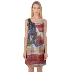 Grunge United State Of Art Flag Sleeveless Satin Nightdress