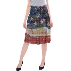 Grunge United State Of Art Flag Midi Beach Skirt
