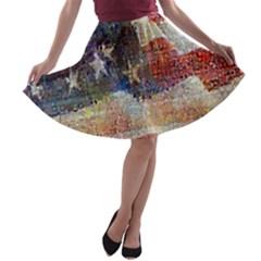 Grunge United State Of Art Flag A-line Skater Skirt
