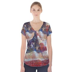 Grunge United State Of Art Flag Short Sleeve Front Detail Top