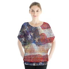 Grunge United State Of Art Flag Blouse