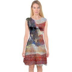 Grunge United State Of Art Flag Capsleeve Midi Dress