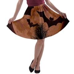 Halloween Card Scrapbook Page A-line Skater Skirt