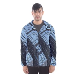 Grid Maths Geometry Design Pattern Hooded Wind Breaker (Men)