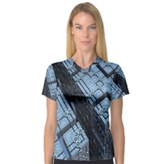 Grid Maths Geometry Design Pattern Women s V-Neck Sport Mesh Tee