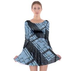 Grid Maths Geometry Design Pattern Long Sleeve Skater Dress