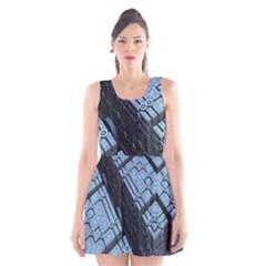 Grid Maths Geometry Design Pattern Scoop Neck Skater Dress