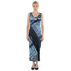 Grid Maths Geometry Design Pattern Fitted Maxi Dress