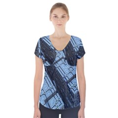 Grid Maths Geometry Design Pattern Short Sleeve Front Detail Top