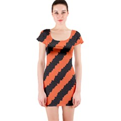 Halloween Background Short Sleeve Bodycon Dress