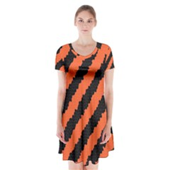 Halloween Background Short Sleeve V-neck Flare Dress