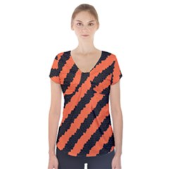 Halloween Background Short Sleeve Front Detail Top