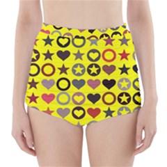 Heart Circle Star High-Waisted Bikini Bottoms