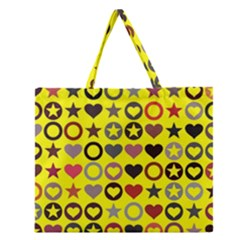 Heart Circle Star Zipper Large Tote Bag