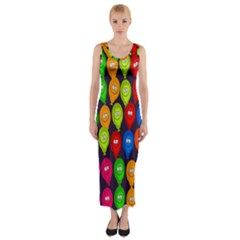Happy Balloons Fitted Maxi Dress