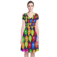 Happy Balloons Short Sleeve Front Wrap Dress