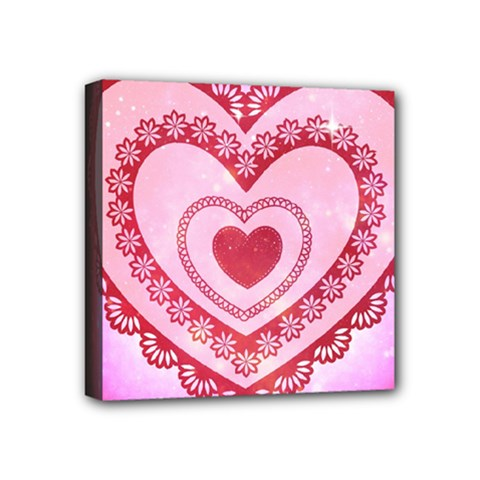 Heart Background Lace Mini Canvas 4  x 4