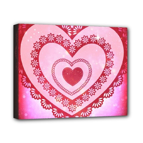 Heart Background Lace Canvas 10  X 8