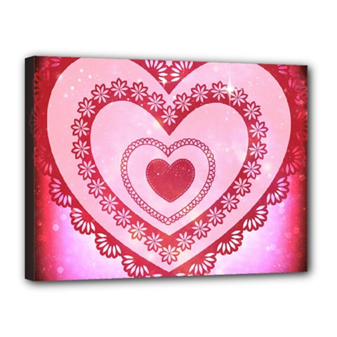 Heart Background Lace Canvas 16  x 12