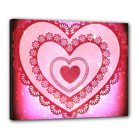 Heart Background Lace Canvas 20  X 16