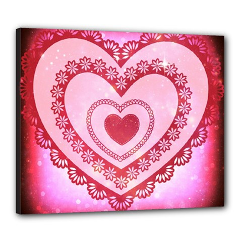 Heart Background Lace Canvas 24  x 20