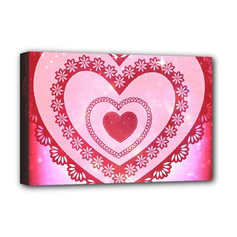 Heart Background Lace Deluxe Canvas 18  X 12
