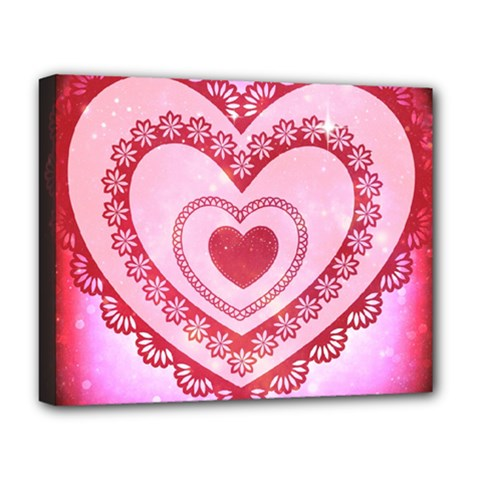 Heart Background Lace Deluxe Canvas 20  x 16