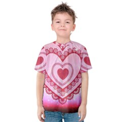 Heart Background Lace Kids  Cotton Tee