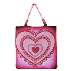 Heart Background Lace Grocery Tote Bag