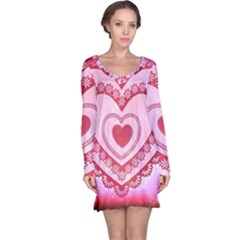 Heart Background Lace Long Sleeve Nightdress