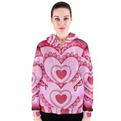 Heart Background Lace Women s Zipper Hoodie