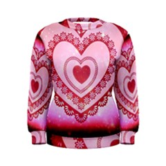 Heart Background Lace Women s Sweatshirt