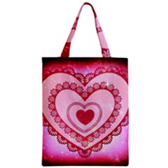 Heart Background Lace Zipper Classic Tote Bag