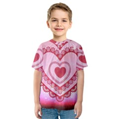 Heart Background Lace Kids  Sport Mesh Tee