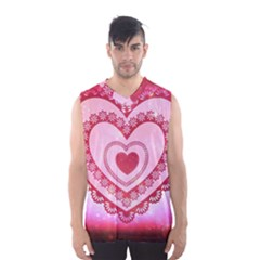 Heart Background Lace Men s Basketball Tank Top