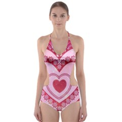Heart Background Lace Cut Out One Piece Swimsuit