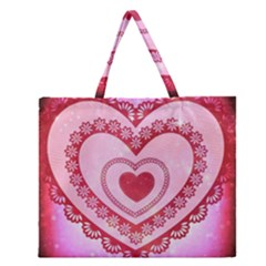 Heart Background Lace Zipper Large Tote Bag