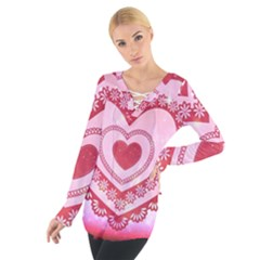 Heart Background Lace Women s Tie Up Tee