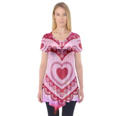 Heart Background Lace Short Sleeve Tunic