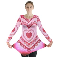 Heart Background Lace Long Sleeve Tunic