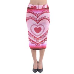 Heart Background Lace Midi Pencil Skirt
